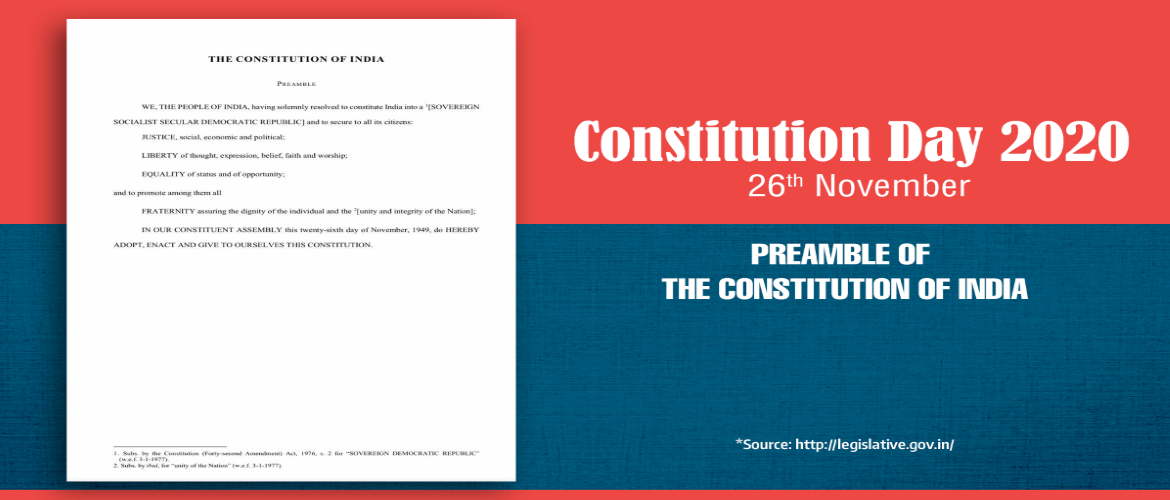 The Constituent Assembly of India adopted the Constitution on 26th November 1949, which came into effect from 26th January 1950. The day is celebrated as Constitution Day to commemorate the adoption of the Constitution of India