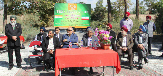 Ambassador Saurabh Kumar, Engr. Vahidreza Anaraki Mohammadi, Mayor, Area-15, Tehran, Dr. Hassan Khalil Abadi, Member, Islamic Council of Tehran and Chairman of the Committee on Iranian Cultural Heritage & Tourism, Mr Juggu Sawhney, Vice President of Gurudwara Trust, Mr Savinder Singh Sikh and Amarjit Singh Sahni, Members of Gurudwara Trust at a Tree Plantation event organized by the Indian Community and Embassy of India as part of celebrations of 150th Birth Anniversary....